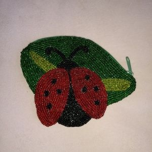Beaded Ladybug Coin Bag Small Zipper Red Green